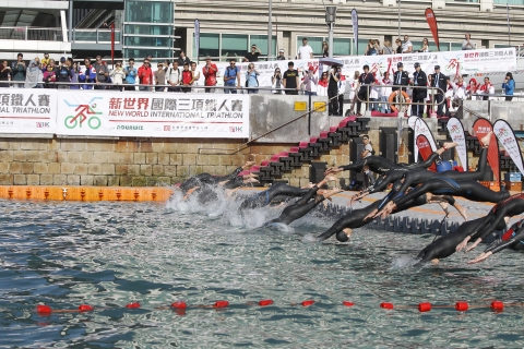 New World International Triathlon, the first urban triathlon held in Hong Kong, was staged on 1 December 2013.