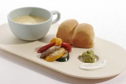 Hong Kong Convention and Exhibition Centre's low carbon menu includes corn soup with corn bread and roast veggies