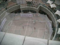 The aerial view of the mini soccer playing field