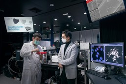 New World Development's Executive Vice-chairman and General Manager Dr. Adrian Cheng (right) met with leading nanotechnology company Master Dynamic to learn how to apply the patented NanoDiamonds technology to the production of low-cost, antibacterial masks. Picture shows Dr. Tom Kong, CEO of Master Dynamic (left) showing Adrian Cheng a sample of NanoDiamonds.